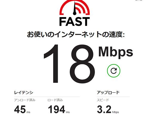ちゅピCOM Air-LANの回線速度テスト1